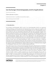 Ion Exchange CHromatography and its applications