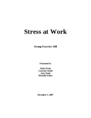 Report on Stress in the work place