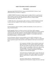 Sample director agreement for student film fipr 234 for Director employment contract template