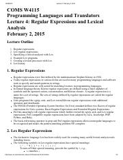 Lecture 4 Regular Expressions and Lexical Analysis