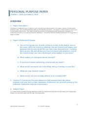 Personal Purpose Statement Paper(1)