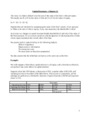 Course Notes MGT339 - Class 4 - Capital Structure