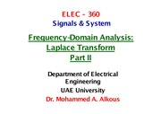Frequency-Domain analysis Laplace Transform Part II