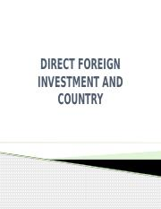 DIRECT FOREIGN INVESTMENT