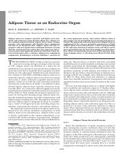Adipose Tissue as an Endocrine Organ