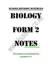 biology form 2 notes - KUSOMA REVISION MATERIALS BIOLOGY FORM 2