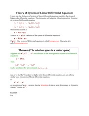Theory of Systems of Linear Differential Equations