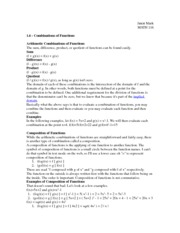 Combinations of Functions Notes