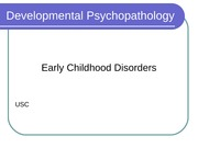 Disorders in Early Childhood Student