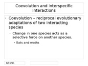 Coevolution and Interspecific Interactions