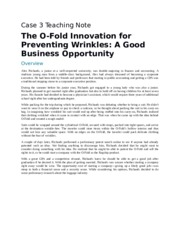 The O-Fold Innovation for Preventing Wrinkles A Good Business Opportunity