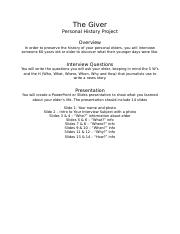 The Giver-Personal History Project.docx