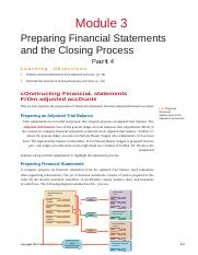 Module 3 -Preparing Financial Statements and the Closing Process- Part 4