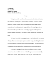 Classification Essay Outline