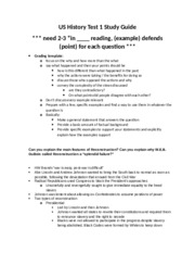 US History Test 1 Study Guide