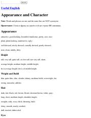 Useful English: Appearance and Character.pdf