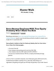 Sorry Startup Employee #100, Your Equity Probably Won't Make You Rich _ Hunter Walk