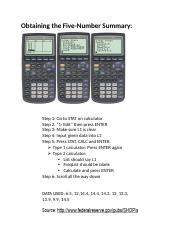 calculator - Obtaining the Five number summary.docx