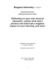 Reflection your own music education in your country