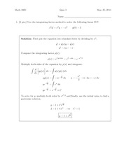Quiz 3 Solution on Differential Equations and Linear Algebra