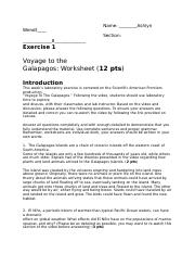 Worksheet 1 Galapagos Mcedit Docx Name Ashlyn Wendt Section 8 Exercise 1 Voyage To The Galapagos Worksheet 12 Pts Introduction This Week U2019s Course Hero