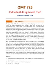 QMT725 - Assignment 2 - Due 29 May 2014