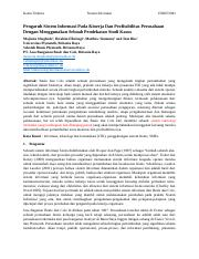Bahasa Indonesia_The Effect of Information Systems on Firm Performance and Profitability Using a Cas