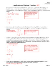Applications of Rational Functions KEY