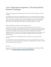 Unit 3 Application Assignment 1 Resolving Ethical Business Challenges.docx