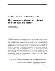 The Humanity Game Art, Islam, and the War on Terror