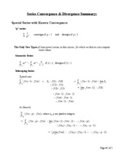 Chap. 11 - Summary of Convergence Tests