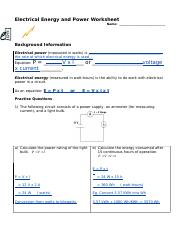 Power worksheet