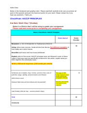 Checkpoint Week 3 HACCP Principles