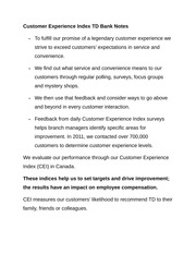 Customer Experience Index TD Bank Notes