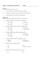 MHF4U1-ASSIGNMENT CHAPTER 3 A
