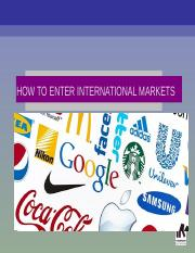 Ways to enter Int Markets