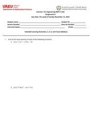 Assignment 2 Calculus I for Engineering Fall 2014
