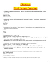 Chapter 4 - Fixed Income - Questions