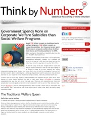 Think by Numbers » Government Spends More on Corporate Welfare Subsidies than Social Welfare Program