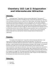 Chemistry 102 Lab 2 Evaporation and  Intermolecular Attraction.docx