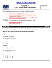 Introduction to Programming - CS201 Special 2007 Assignment 05 Solution