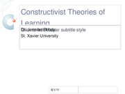 Constructivist Theories of Learning