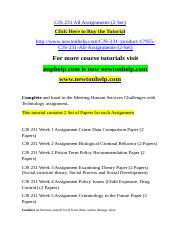 CJS 231 All Assignments (2 Set).doc