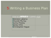 5 Writing a Business Plan