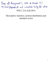 Descriptive statistics, normal distribution and standard scores NOTES