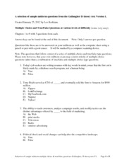 Sample Midterm Multiple Choice Practice Questions Ch 1 to 6 Gallaugher V1