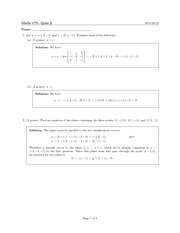 Math 175_Exam Solutions on Vectors