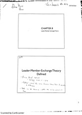 MGMT 4470 Leadership (Chapter 8 Leader Member Exchange Theory)