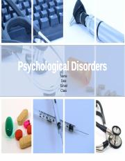 BEH 225 Week 8 Assignment Psychological Disorders Presentation