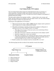 Managerial Accounting - Chapter 3 Class Notes: CVP Analysis